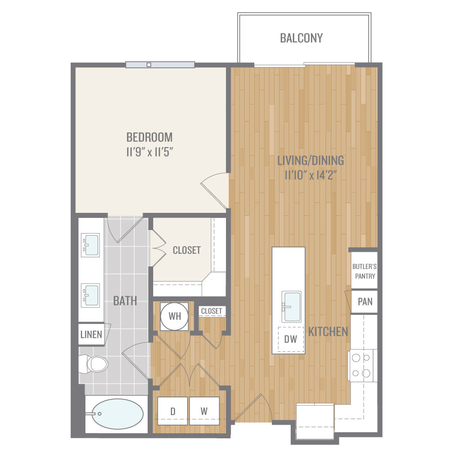 758 sq. ft. A5 floor plan