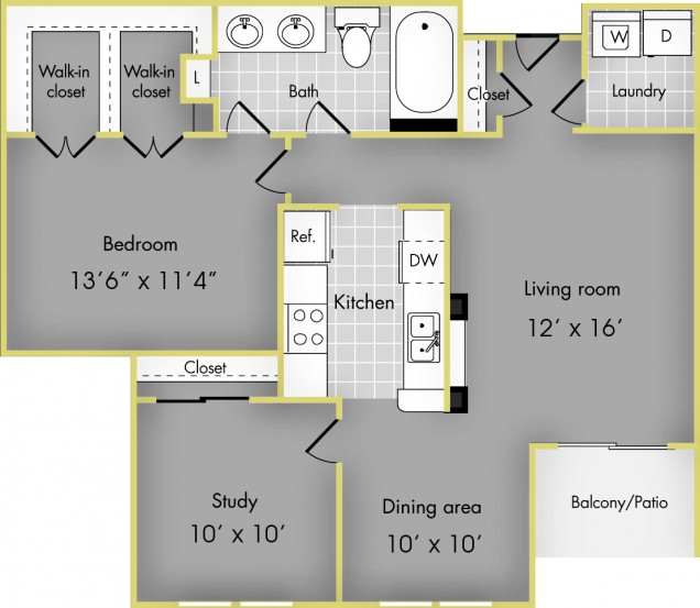 932 sq. ft. C floor plan