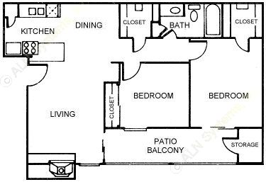 800 sq. ft. Bayelaf floor plan