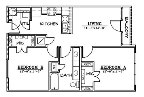 809 sq. ft. B3A floor plan