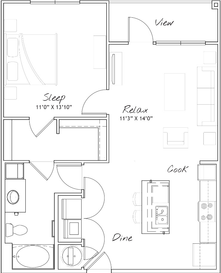 811 sq. ft. A2 floor plan