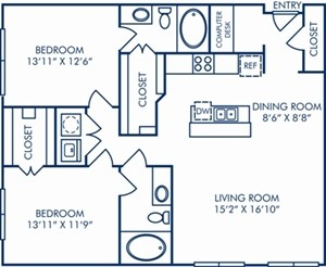 1,195 sq. ft. B3B floor plan