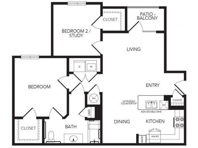 941 sq. ft. Foxgate II floor plan