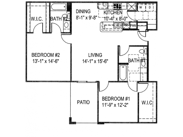 1,153 sq. ft. B3A floor plan