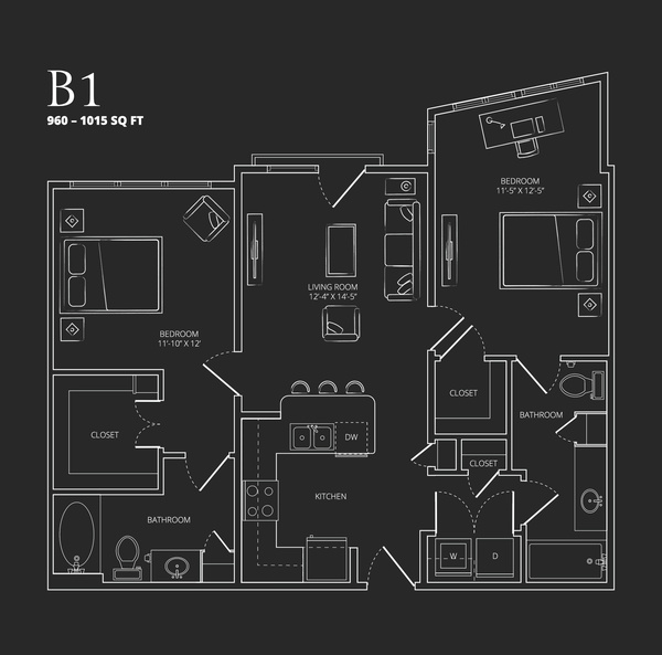 960 sq. ft. to 1,015 sq. ft. B1 floor plan