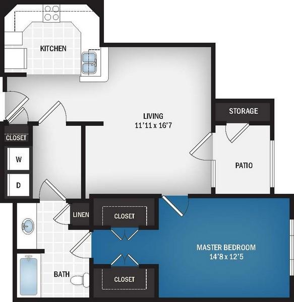 802 sq. ft. Starburst floor plan