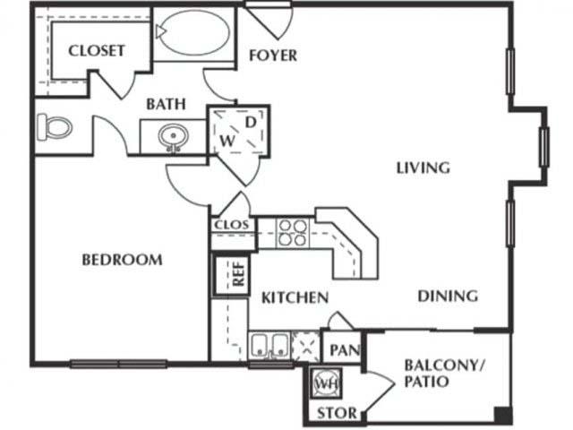 656 sq. ft. AG floor plan