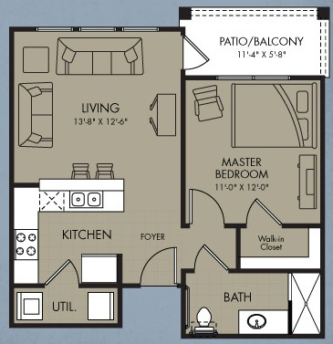 610 sq. ft. Halo floor plan