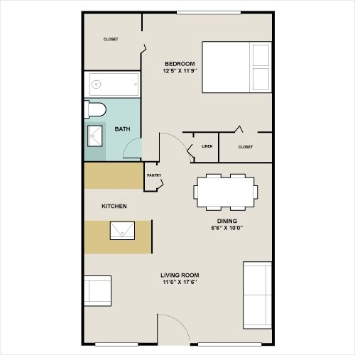 576 sq. ft. to 800 sq. ft. A3 floor plan