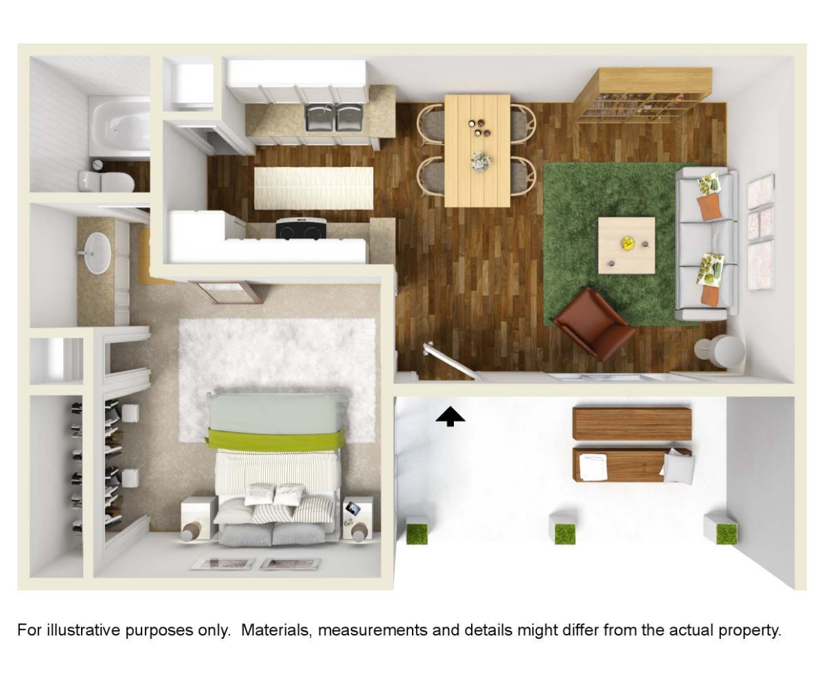 481 sq. ft. A-1 floor plan