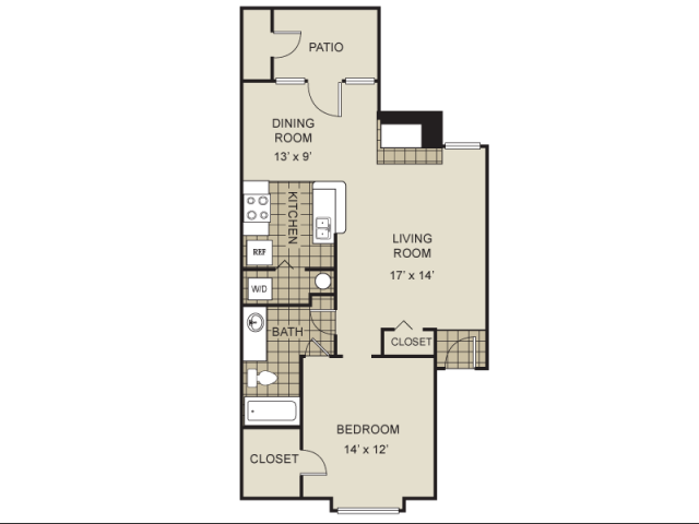 785 sq. ft. A2-D floor plan