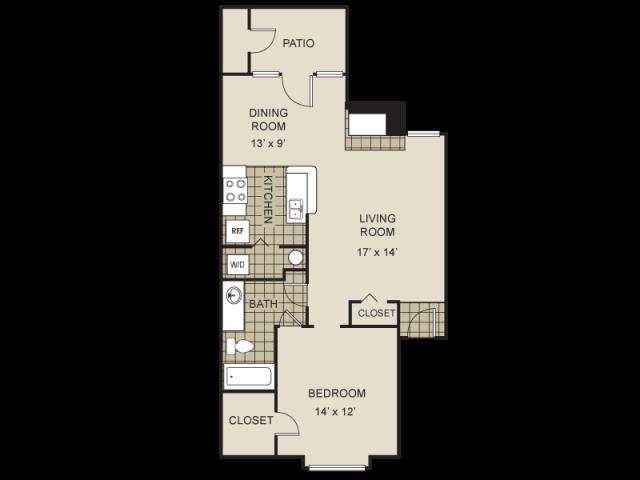 785 sq. ft. A2-D floor plan