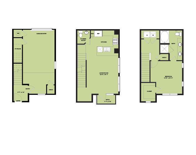 956 sq. ft. TH A1.2 floor plan