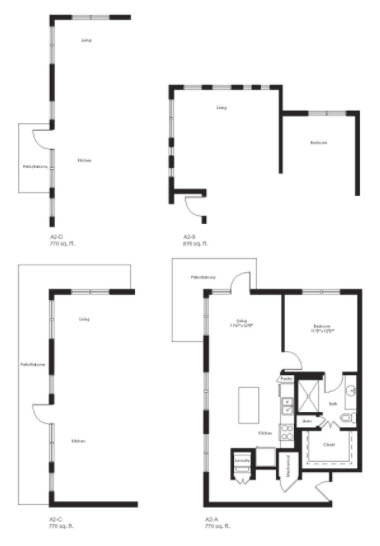 770 sq. ft. A2A floor plan