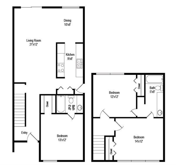 1,234 sq. ft. C1 floor plan