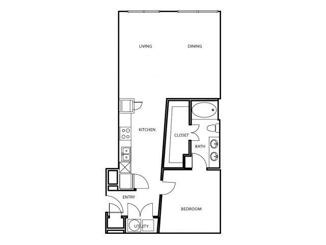 876 sq. ft. A3-E floor plan
