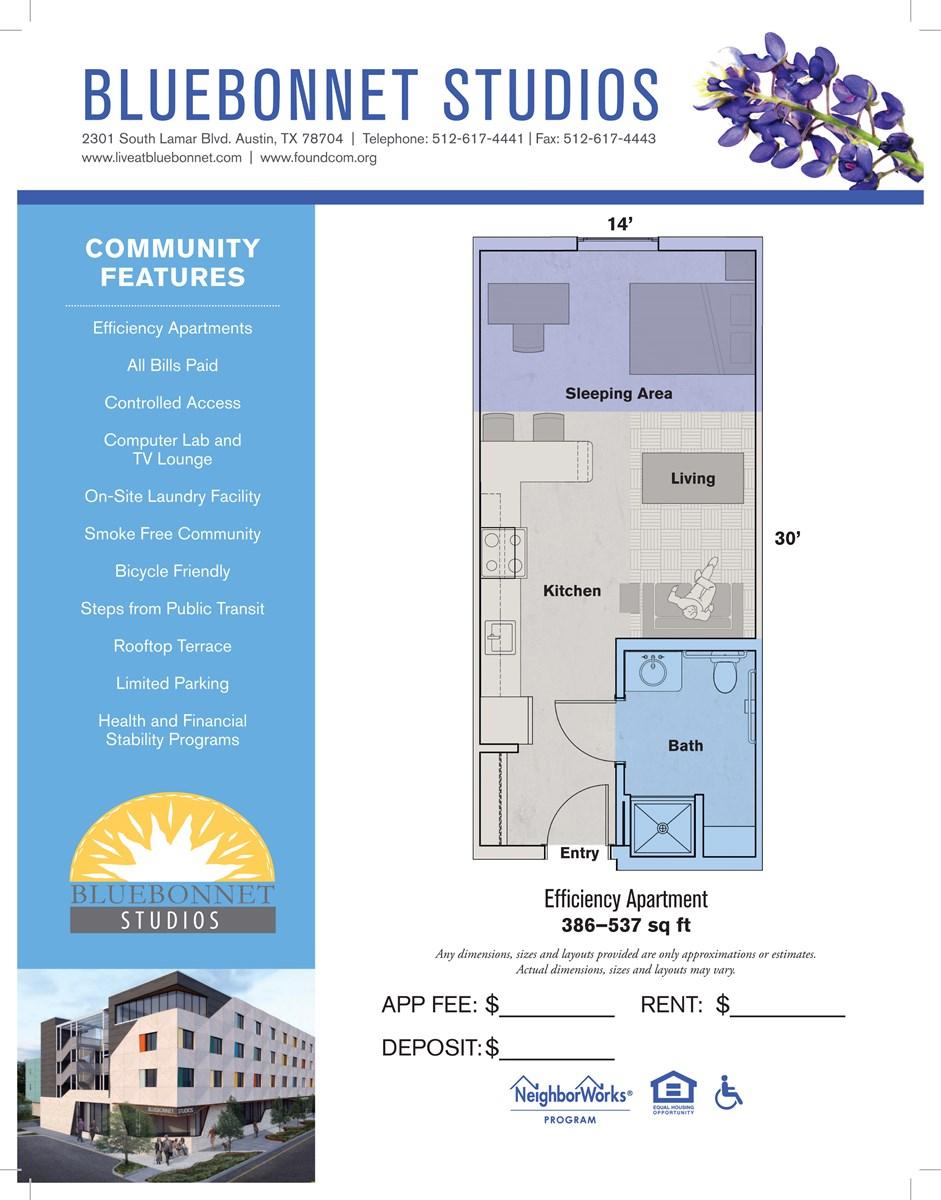 386 sq. ft. to 537 sq. ft. 30% floor plan