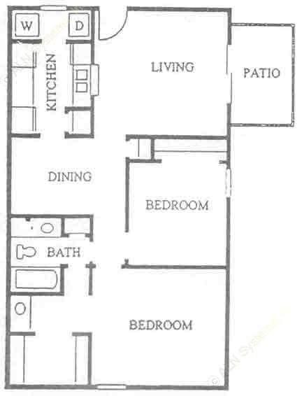 883 sq. ft. B-1 floor plan