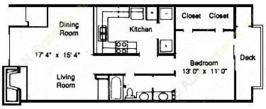 747 sq. ft. LARGE floor plan