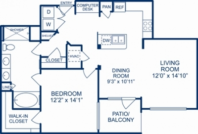 988 sq. ft. LITTLE ROCK floor plan