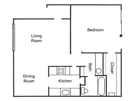 720 sq. ft. Birch floor plan