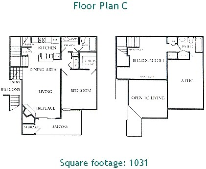 1,031 sq. ft. C floor plan