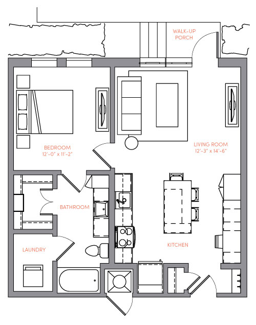 732 sq. ft. A1A.6 floor plan