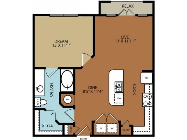 729 sq. ft. A3 floor plan