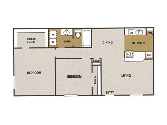 935 sq. ft. J floor plan