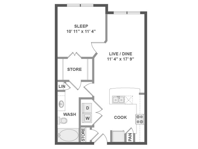 643 sq. ft. A2 floor plan