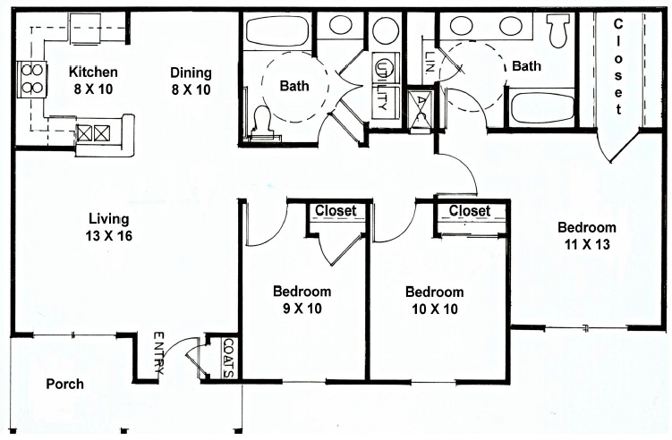 1,194 sq. ft. D floor plan