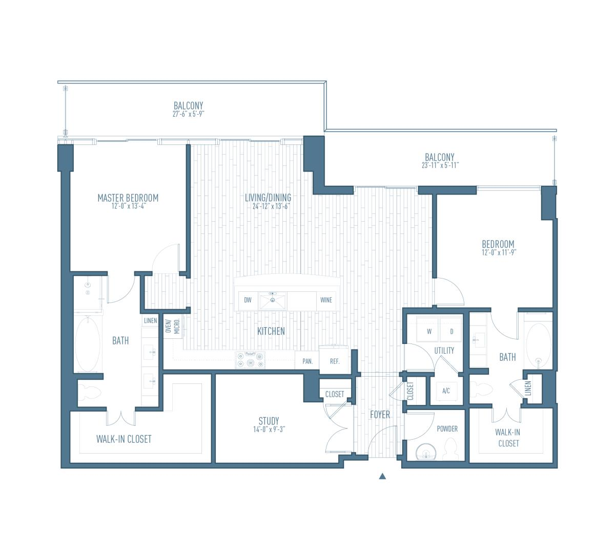 1,602 sq. ft. P1 floor plan