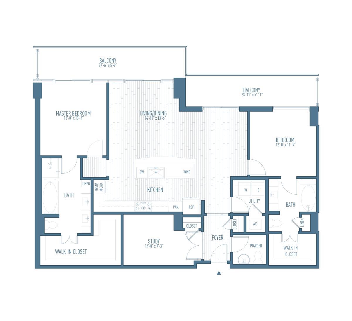 1,602 sq. ft. P1 floor plan