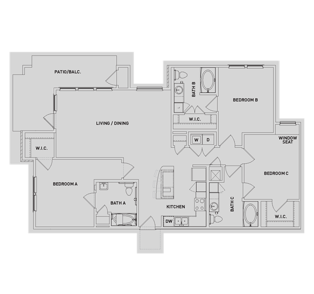 1,505 sq. ft. C1 floor plan