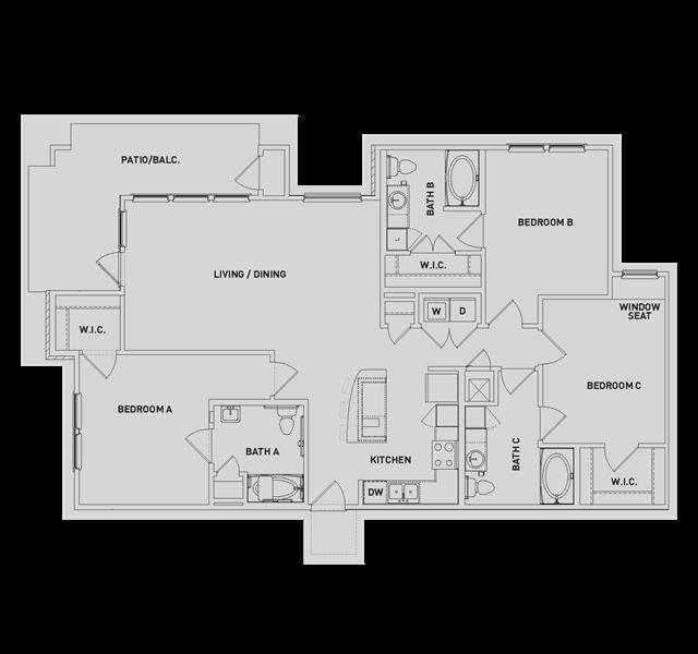 1,505 sq. ft. C1 floor plan