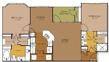 1,078 sq. ft. to 1,097 sq. ft. MARVEL floor plan