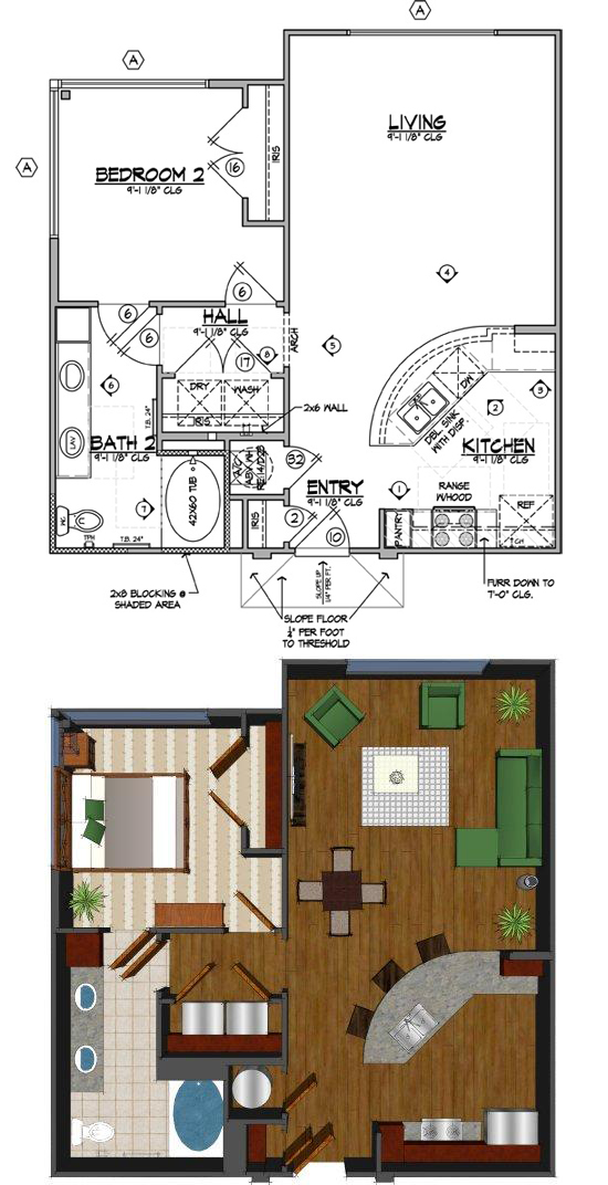 785 sq. ft. F floor plan