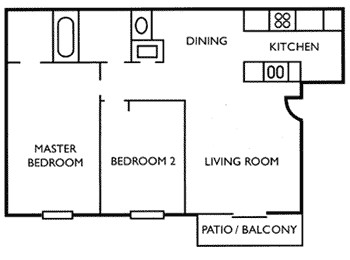 940 sq. ft. B3 floor plan
