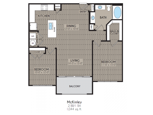 1,044 sq. ft. McKinley floor plan