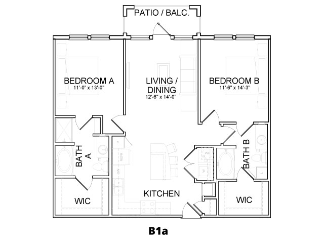 1,080 sq. ft. B1A floor plan