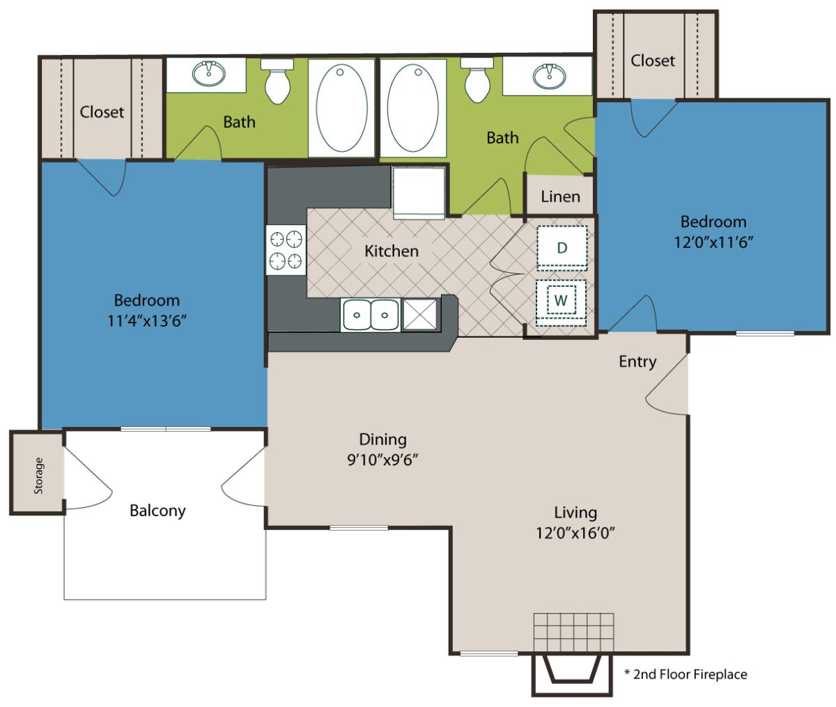 962 sq. ft. B2 floor plan