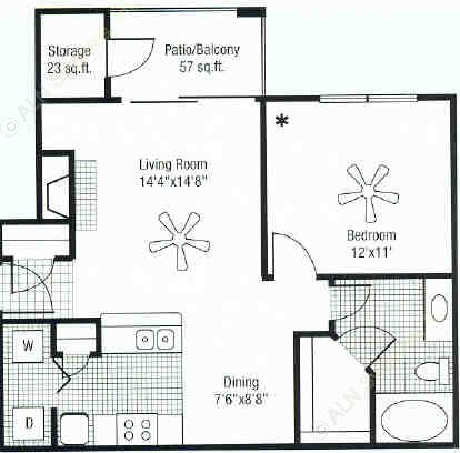 772 sq. ft. floor plan