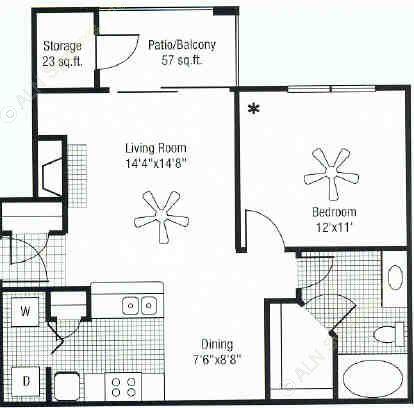 772 sq. ft. floor plan