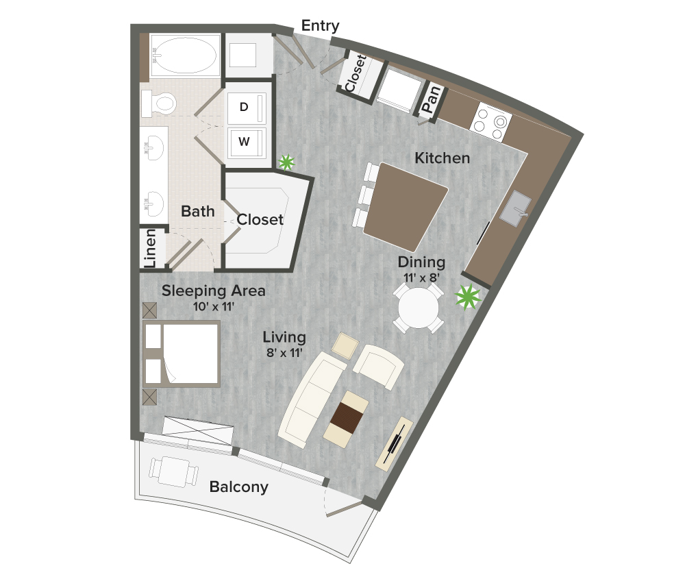 724 sq. ft. Carter-A3 floor plan