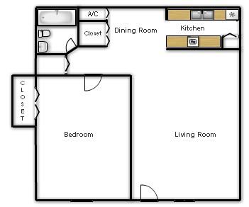 650 sq. ft. Cedar floor plan