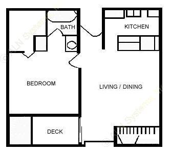 593 sq. ft. E floor plan