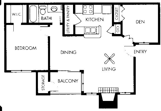 779 sq. ft. Degas floor plan