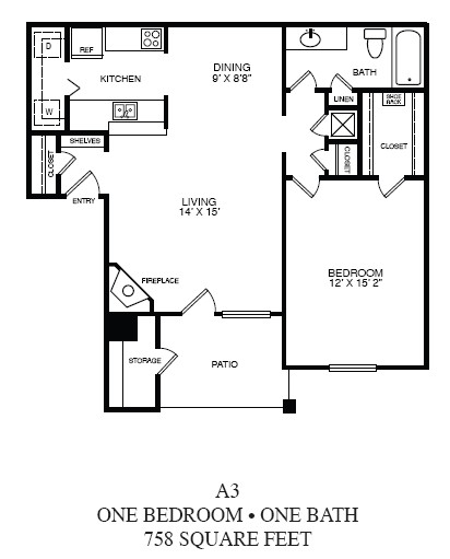 758 sq. ft. A3 floor plan