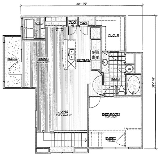 929 sq. ft. A7/ Macaw floor plan