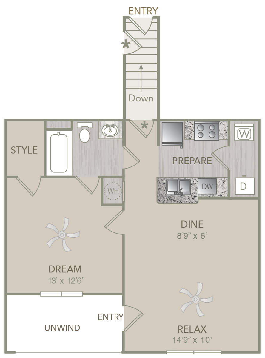 808 sq. ft. A1U floor plan
